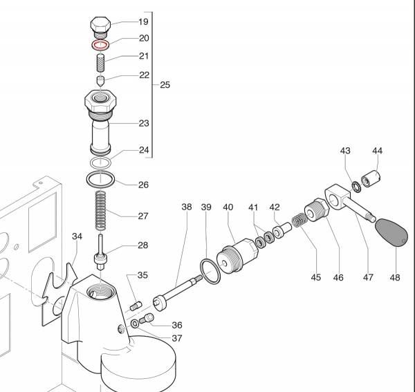 ECM Teflon-Dichtung E61 Brühgruppe oben