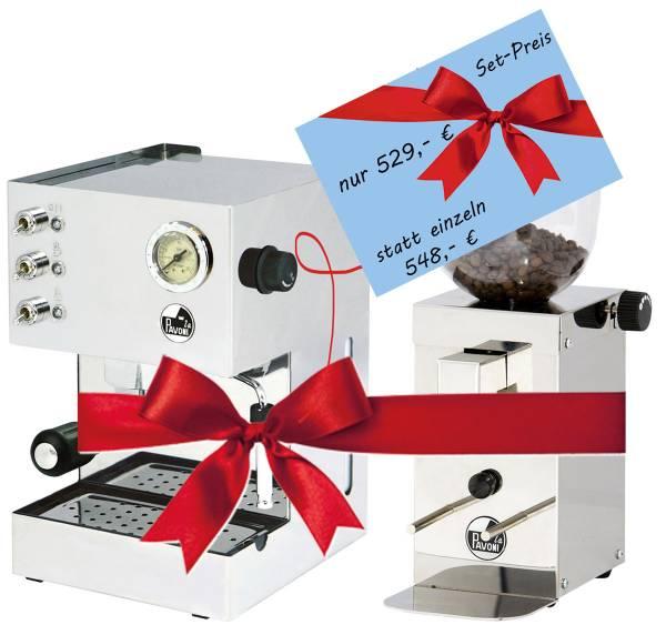 Angebot: La Pavoni Gran Caffè Steel Edelstahl - GCM mit Mühle KUBE im Set