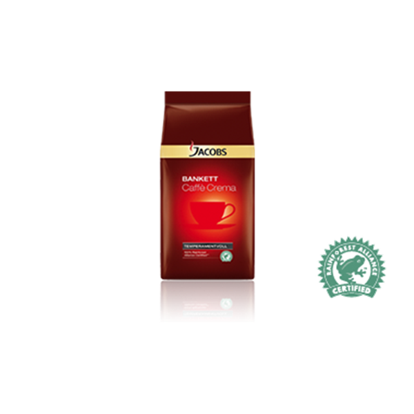 Jacobs Bankett-Caffé Crema Temperamentvoll 100% Rainforest Certified 1kg