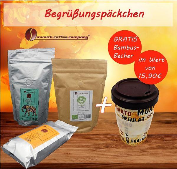 Begrüßungspäckchen: 3x MCC-Espresso-Röstungen à 250g + GRATIS 1 Bambusbecher!