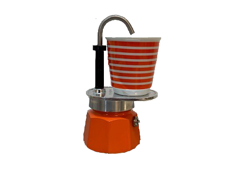 Bialetti Set Mini Express orange 1TZ - Aluminium-Espressokocher mit 1 Espressobecher