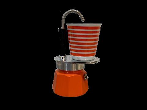 Bialetti Set Mini Express orange 1TZ - Aluminium-Espressokocher mit 1 Espressobecher